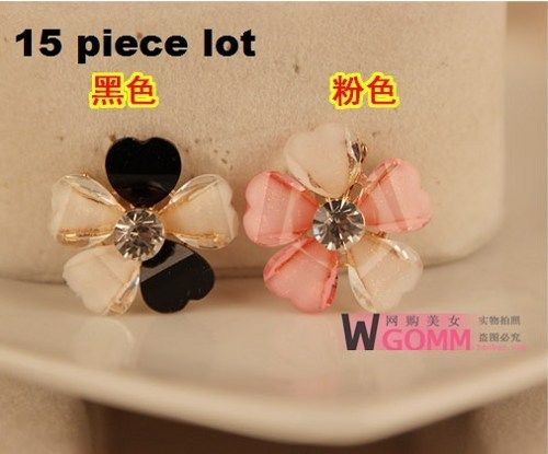 15pc lot Resin petal alloy back  bicolor flowers diy bling phone deco  | chriszcoolstuff - Craft Supplies on ArtFire
