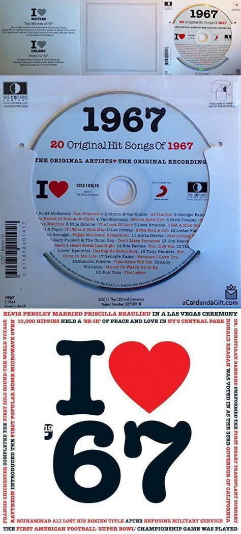 1967 Birthday Gift - I Love 1967 Compilation Music Hits CD - 20 Original Songs - 1967 Year Greeting Card