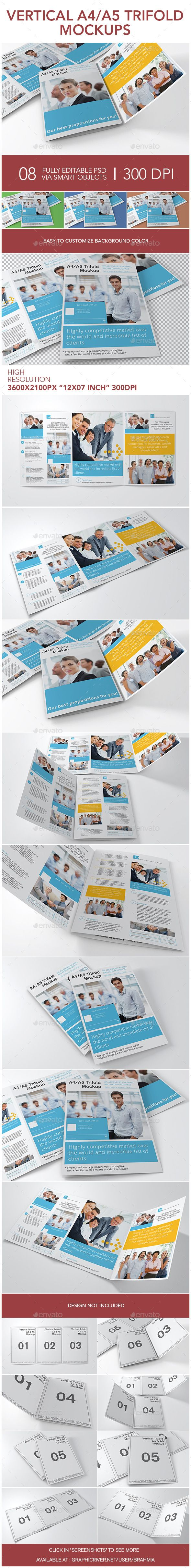 Vertical A4 or A5 Trifold Mockups #design Download: http://graphicriver.net/item/vertical-a4-or-a5-trifold-mockups/12410493?ref=ksioks