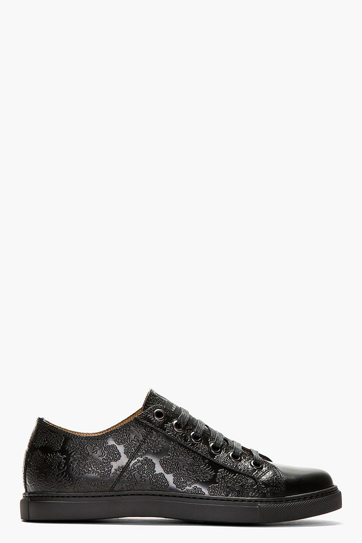 MARC JACOBS Black Leather Floral Embossed Low Top Sneakers