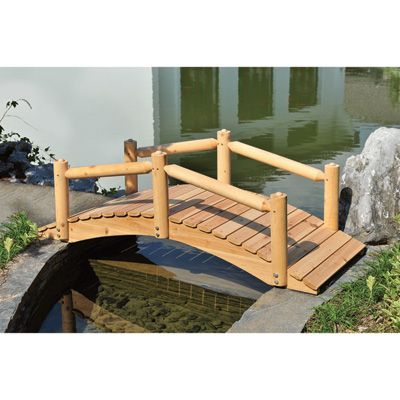 5Ft. Log Garden Bridge with Wood Post Railings