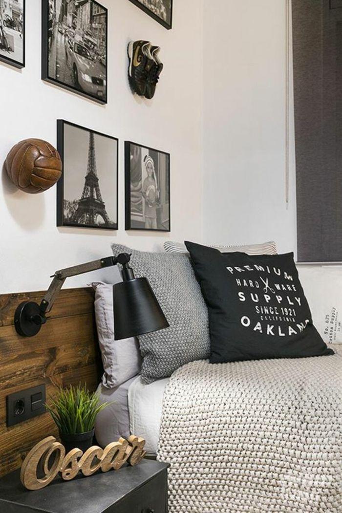 chambre ado décoration chambre garçon avec objets sportifs balle de volley ball au mur