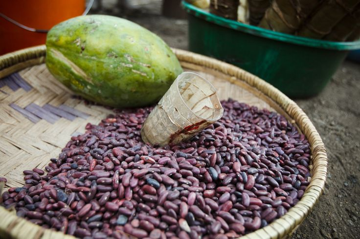 Beans and a papaya for sale at a roadside market in Kibanga, Democratic Republic of the Congo. ©FAO/Olivier Asselin