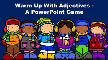 """Warm Up With Adjectives - A PowerPoint Game.  This """"winter fun"""" themed game introduces and reviews the concept of basic adjectives. It explains to the students that adjectives are describing words that answer the questions, """"What kind?"""" """"Which one?"""" """"How many?"""""""