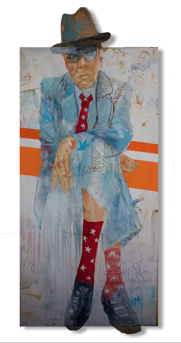 Large Oil Painting Of Vintage Businessman Wearing Blue Suit Hat Red Socks And Red Tie With Stars Orange Strip In The Background Extended