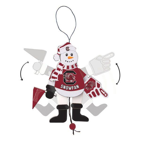 South Carolina Gamecocks Wood Cheering Snowman Ornament - $9.99