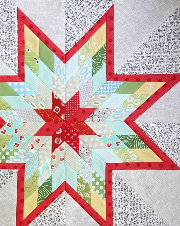 I love this Lone Star, by Allison Harris of Cluck Cluck Sew.  I dig the mix of cheery brights with gray textures and especially the black and white handwritten text print in the background.  The balance is perfect! http://www.cluckclucksew.com/2013/07/lone-star-love.html
