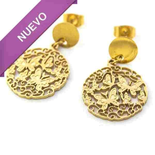 Joyas de Acero-Aros-EA0804. Aro acero color dorado, diseño de mariposas en filigrana, largo 3 cm