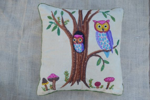 Owl Pillow - Crewel Embroidery