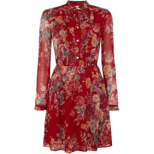 Denim and Supply Ralph Lauren Bianca bib high neck vintage floral... (1.653.935 IDR) ❤ liked on Polyvore featuring dresses, red, women, vintage dresses, vintage floral print dress, floral print dress, modal dress and high neck dress