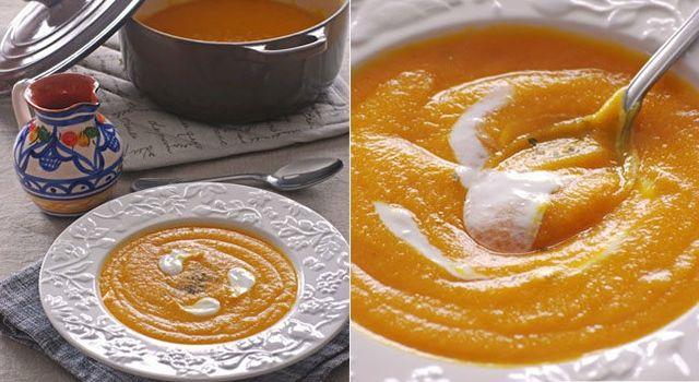 Crema suave de lentejas rojas con calabaza y zanahoria