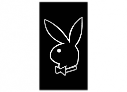 PLAYBOY TELO MARE BIANCO NEON  telo mare in spugna-color nero con disegno playboy rosa misure 80x150 cm
