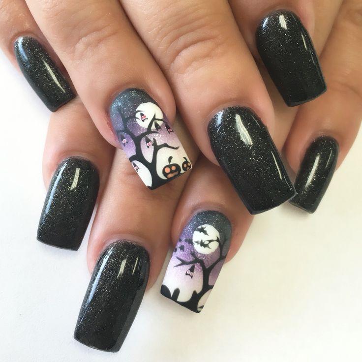 Halloween inspired nail art design | Halloween nail ...
