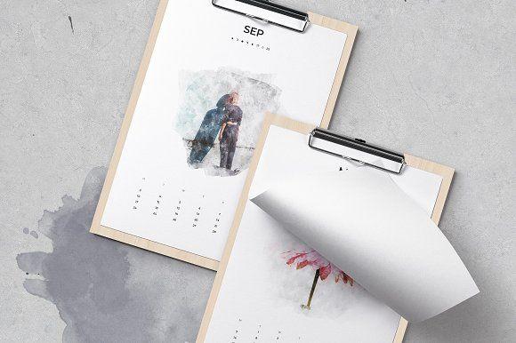 2018 Watercolor Calendar by Moscovita on @creativemarket