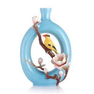 Franz Collection Porcelain Eminent Elegance Oriole Bird Vase