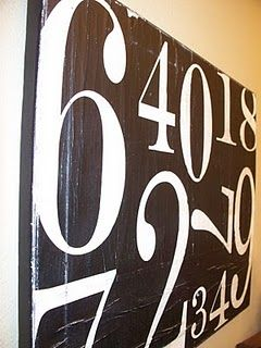 PB knock-off: painted numbers canvas.Could use kids birth dates-marriage anything that is important to you.