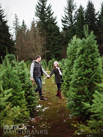 Seattle Engagement Session by Laura Marchbanks Photography at Farmer Brown's Christmas Tree Farm in Arlington on Film. Outdoor couples engagement session. Perfect for a Christmas photo!