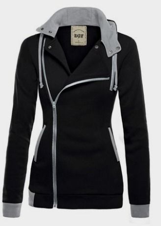 DJT Womens Oblique Zipper Slim Fit Hoodie Jacket at Amazon Women's Clothing store: Fall Outfits http://amzn.to/2e2HjXs