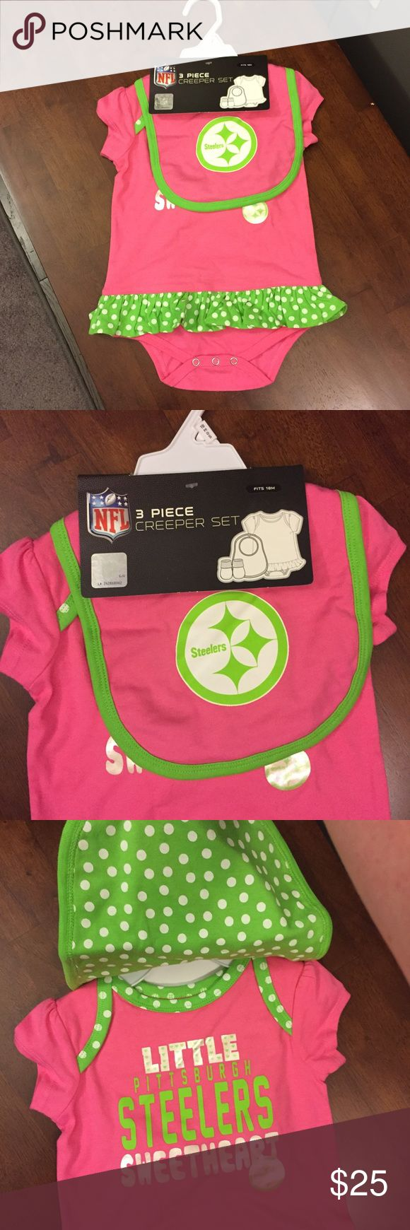 🆕 NFL Pittsburgh Steelers Creeper Set NWT 18 mos Brand new with tags! Thank you for looking! Pink and green polka dot print tutu like onesie, booties and bib. little Pittsburgh Steelers sweetheart nfl Matching Sets