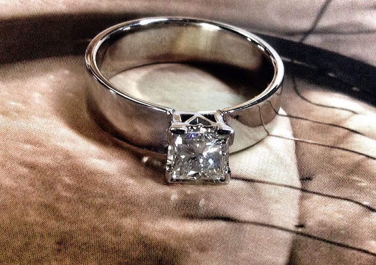 Princess cut diamond and white gold engagement ring x