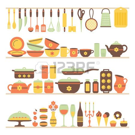Set of kitchen utensils and food, objects on shelves. Cookware, home cooking background. Kitchenware. Modern design. Vector illustration.