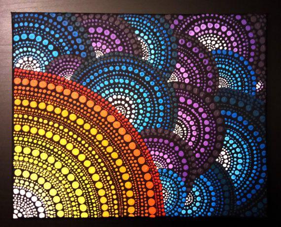 Pintura de Mandala punto original hecho a mano por por MoldaART