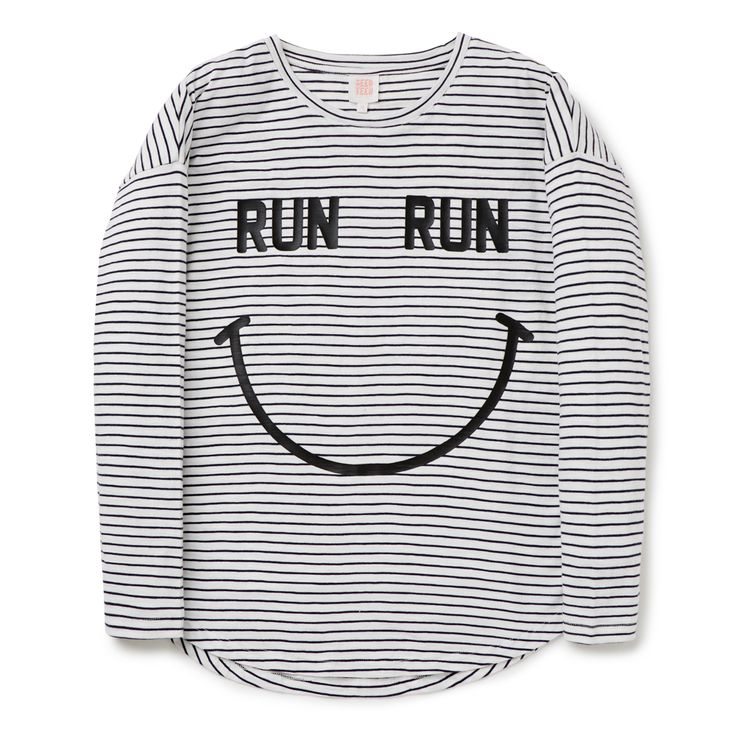 Get ready to run with this fun tee. The long sleeves make it perfect for the cooler months. Stripes + exercise = smile! Made from 100% cotton, available in sizes 8 to 16.