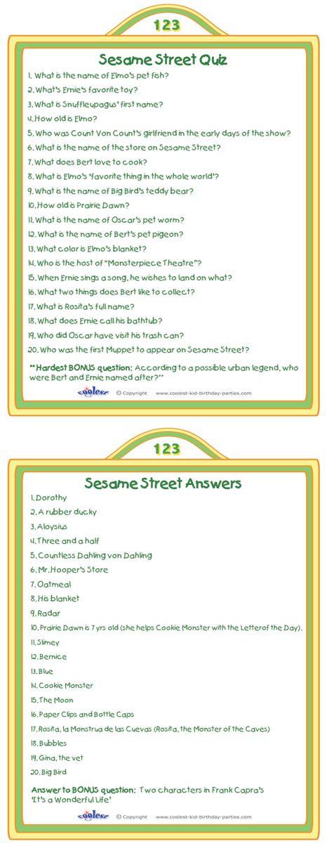 Printable Sesame Street Quiz Activity Coolest Free Printables