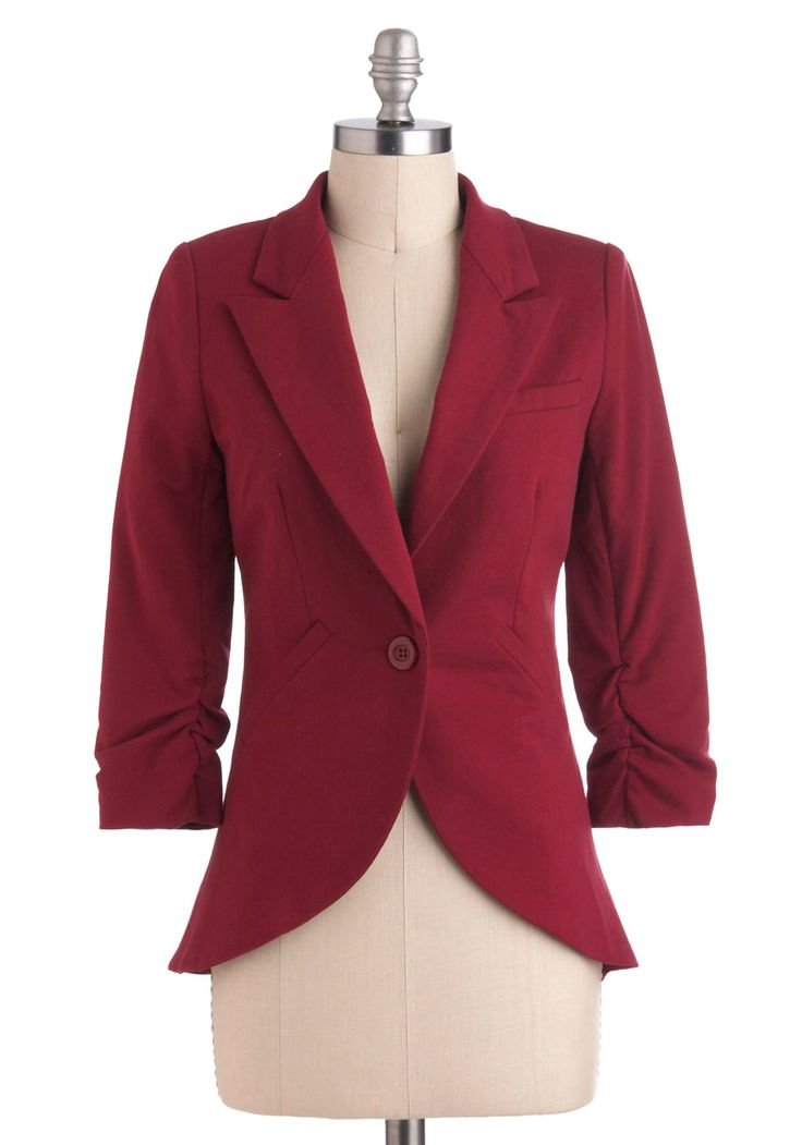 Fine and Sandy Blazer in Burgundy - Red, Solid, Buttons, Pockets, Menswear Inspired, 3/4 Sleeve, Cotton, Short, Work