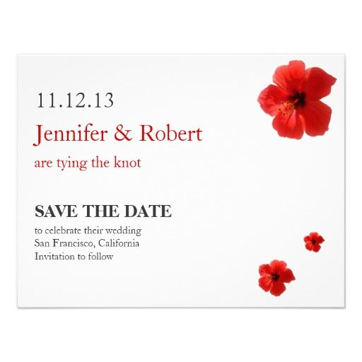Save the Date Announcement with red Hibiscus. Easy to add your own engagement photo to the back.