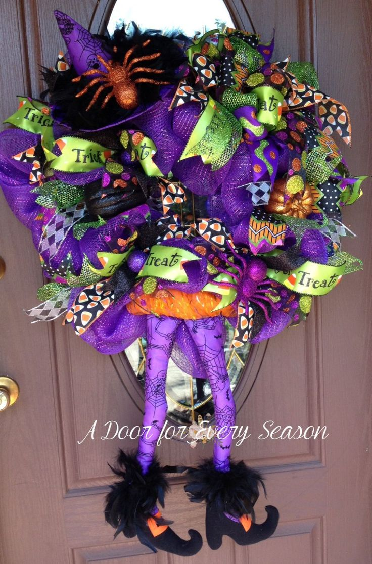 Halloween Purple Good Witch Wreath, One of a Kind, Only One Available NOW by ADoorForEverySeason on Etsy
