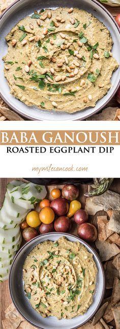 Recipe for roasted eggplant dip, baba ganoush. #eggplantdip #dip #eggplantrecipe