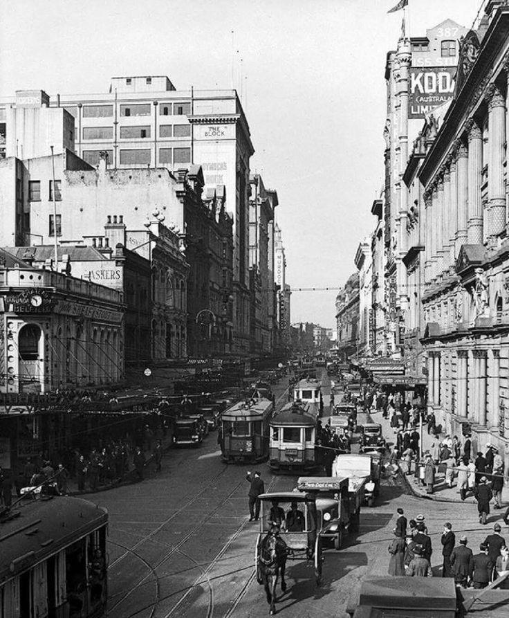 George St,Sydney in 1936.*Dymocks building 424-430 George St, •Fairfax Archives•
