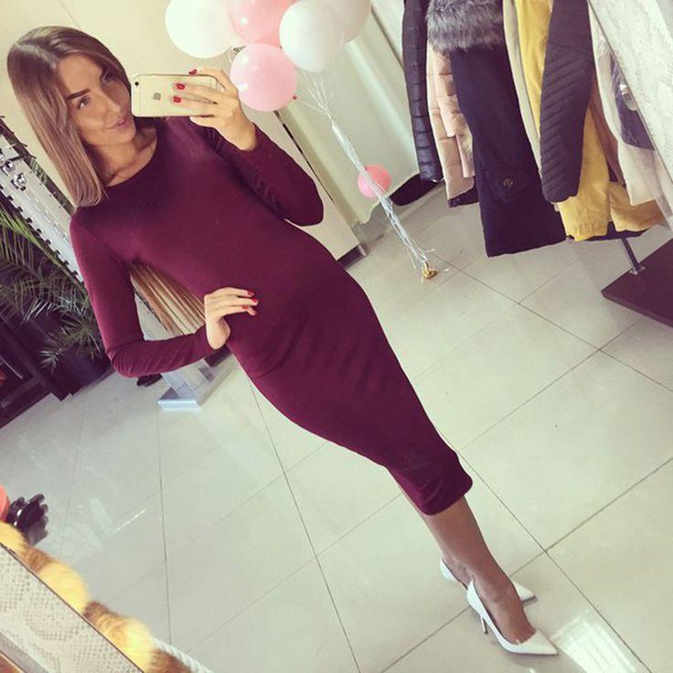 2015 Cotton Knitted Long Sleeve Knee Length Midi Dress Slim Bodycon Bandage Autumn Black Wine Red Women Dresses Bandage Q0001
