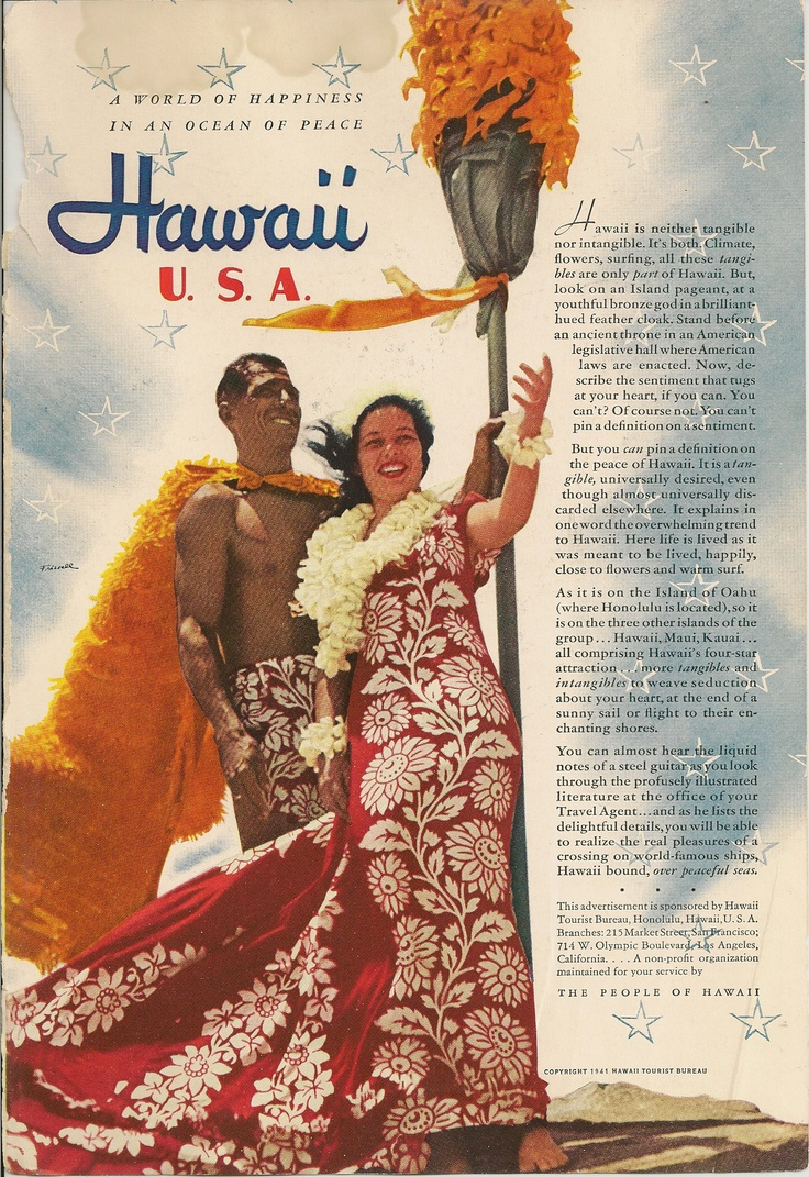 1941 Hawaii Tourism ad.  What a great year to escape the winter weather!  Say, first week in December?