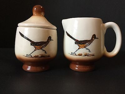 Dobe of Arizona Handcrafted Sugar Bowl and Creamer Brown Roadrunner Cream Color