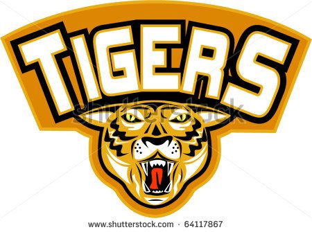 """vector illustration of an angry tiger head  front view  with words """"tigers"""" suitable for any sports sporting club team mascot - stock vector #tigers #retro #illustration"""
