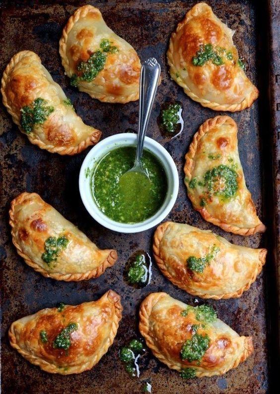 Caprese Empanadas With Tomato, Mozzarella, and Basil recipe. YUM.