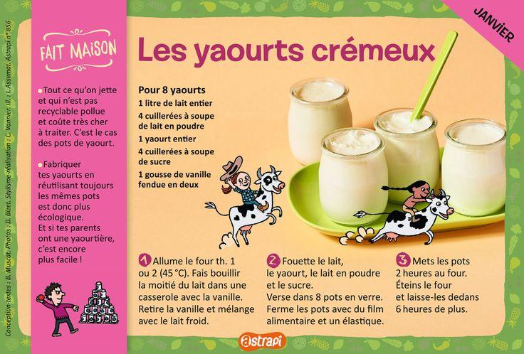 Les yaourts crémeux : une recette pour les enfants de 7 à 11 ans, avec du lait et de la vanille (extrait du magazine Astrapi n°856).