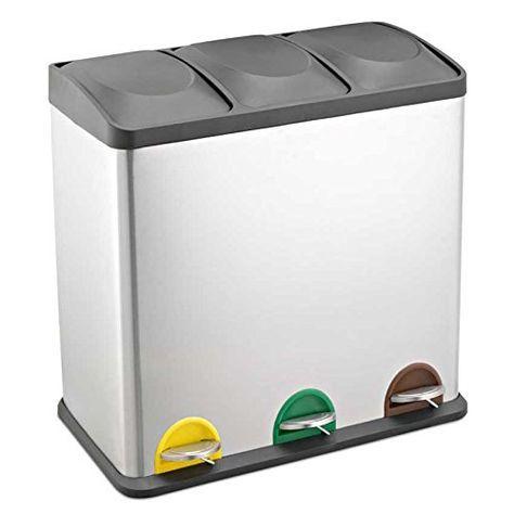 Treteimer Abfalleimer Mülleimer Mülltrennung Edelstahl (60 Liter 3x20L)
