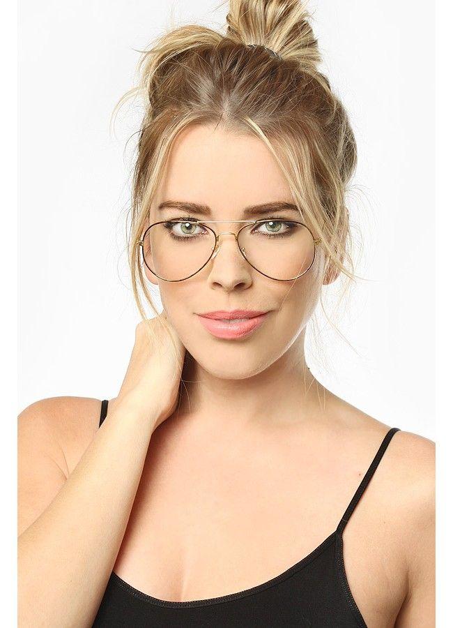 Clear Aviator Glasses | Classic 58mm Clear Aviator Glasses | BleuDame.com