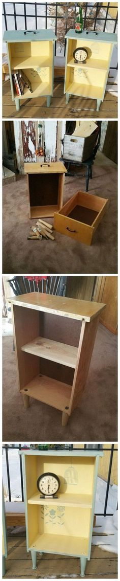 Drawers into side tables?! Wow I wish I would have seen this earlier haha DIY Ideas Of Reusing Old Furniture 20