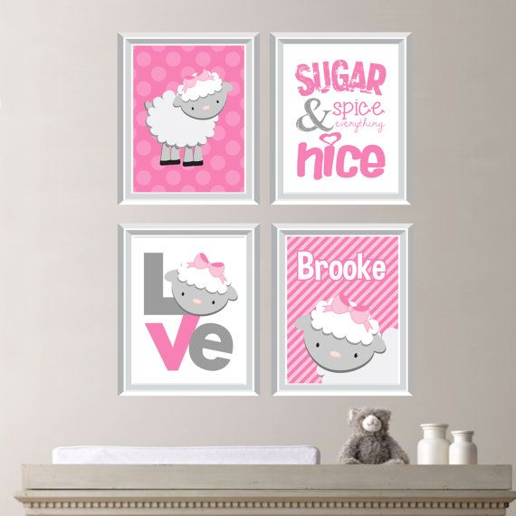 Personalized Polka Dot & Stripe Love Sheep Lamb Print Quad - Name. Wall Art…