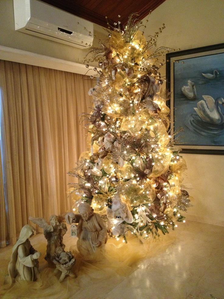 Pino navidad dorados pinos pinterest christmas trees for Arbol de navidad dorado