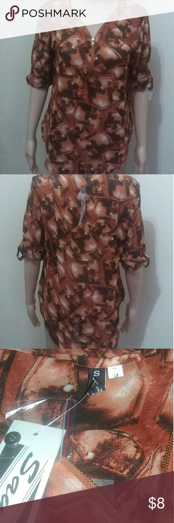 Zip up blouse NWT Size medium brown zip up blouse.  New with tags. Tops Blouses