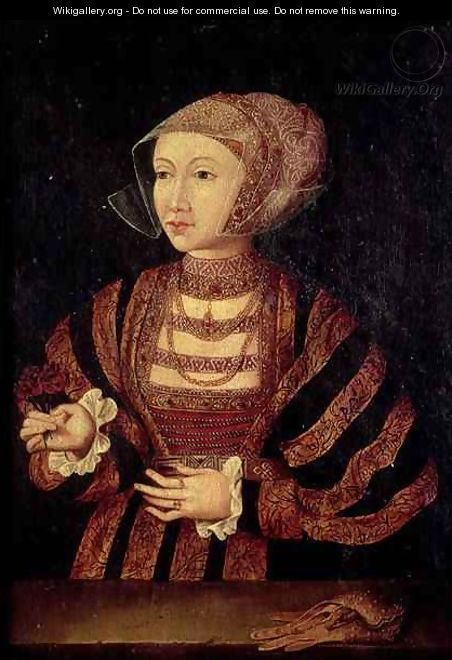 Portrait of Anne of Cleves 1515-57 Fourth wife of Henry VIII of England - (after) Holbein the Younger, Hans