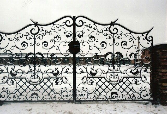 Wrought iron driveway doors