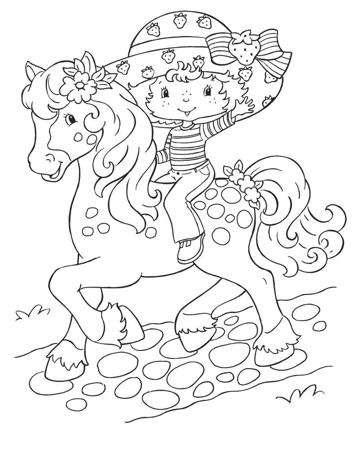 strawberry shortcake coloring pages coloring page strawberry shortcake on horse coloringme - Strawberry Shortcake Coloring Book
