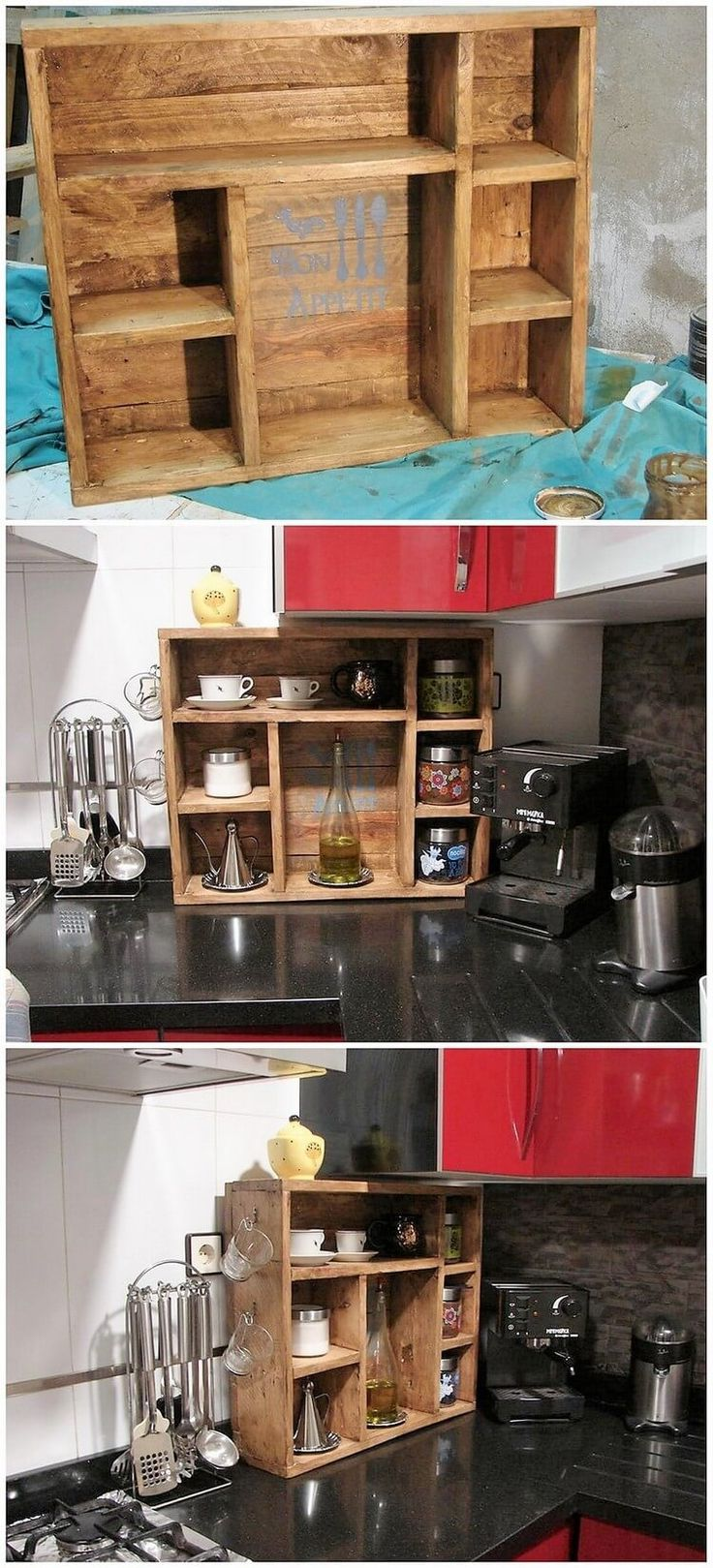 To add some impressive features in your kitchen you are best left with the idea of pallet shelf creative variations. This shelf will be designed as small in size and would be completely covered with the old wooden pallet material. You can beautifully design it by adding some more creative ideas coming all the way in your mind.