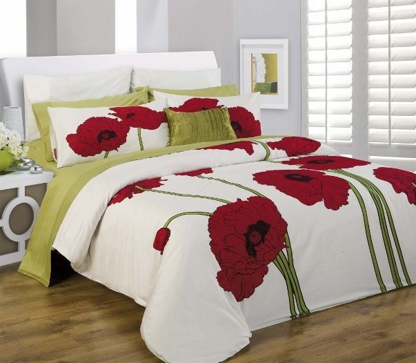 Details About 3pc Red Lime White Black Poppy Design 300tc